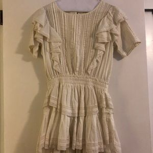 LOVESHACKFANCY mini short sleeve cream dress